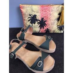 Sandales compensées kaki...